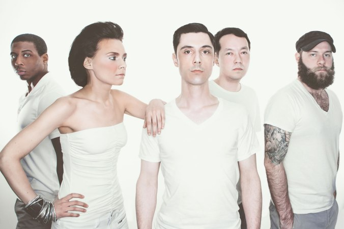Stereo Off, L-to-R: Darren (Drums), Bridget (Keys, Viola), Sebastian (Lead Vocals, Keys), Niall (Bass, Rhythm Guitar), Steve (Lead Guitar, Vocals).