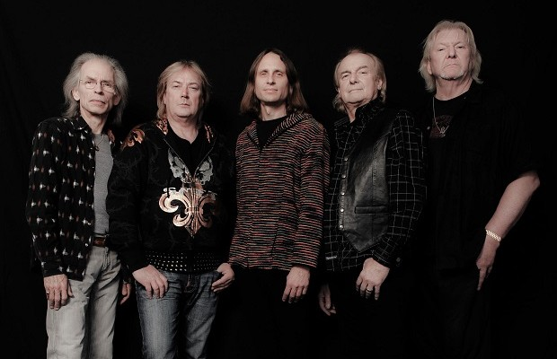 Yes, L-to-R: Steve Howe, Geoff Downes, Jon Davison, Alan White, Chris Squire.