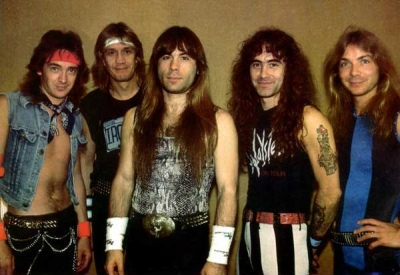 Iron Maiden, L-to-R: Adrian Smith, Nicko McBrain, Bruce Dickinson, Steve Harris, Dave Murray.
