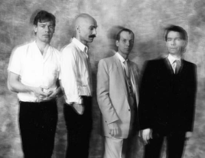 King Crimson 1982, L-to-R: Bill Bruford, Tony Levin, Adrian Belew, Robert Fripp.