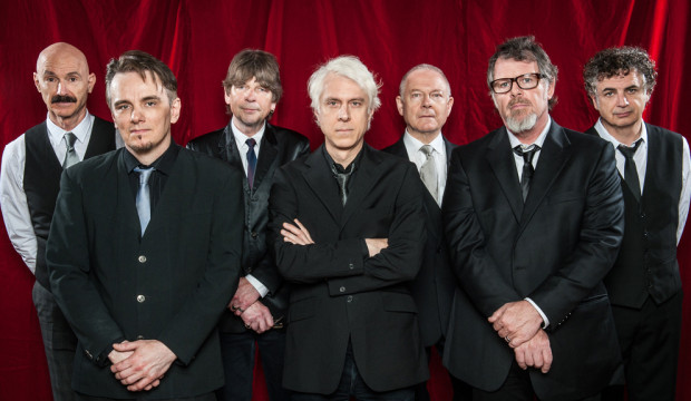 King Crimson, L-to-R: Tony Levin, Gavin Harrison, Mel Collins, Bill Rieflin, Robert Fripp, Pat Mastelotto, Jakko M. Jakszyk.