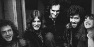 Gordon Haskell (second from right) with King Crimson in 1970, L-to-R: Robert Fripp, Mel Collins, Andy McCulloch, Pete Sinfield.
